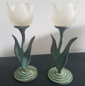 Set of 2 frosted glass tulip tealight holders